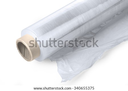 Roll of wrapping plastic stretch film on white background with clipping path - stock photo