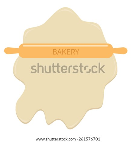 Roll out dough  and wooden rolling pin plunger bakery tool Flat design Template  - stock photo