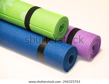Roll out mats for workout and aerobics - stock photo