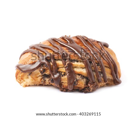 Roll pastry bun covered with the chocolate, composition isolated over the white background