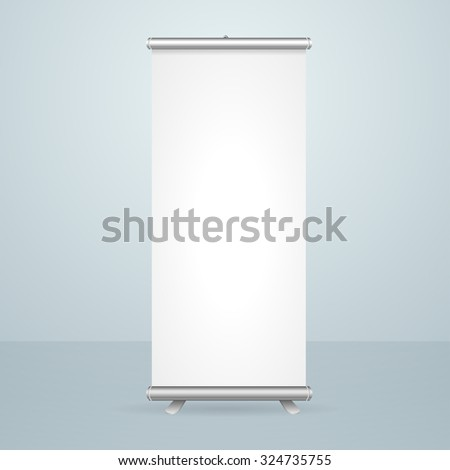 Roll Up Banner Blank Stand Design Isolated on Gray Background. illustration