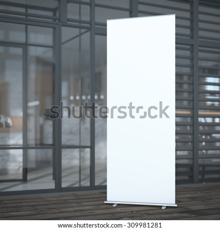 Roll up banner near modern cafe. 3d rendering - stock photo