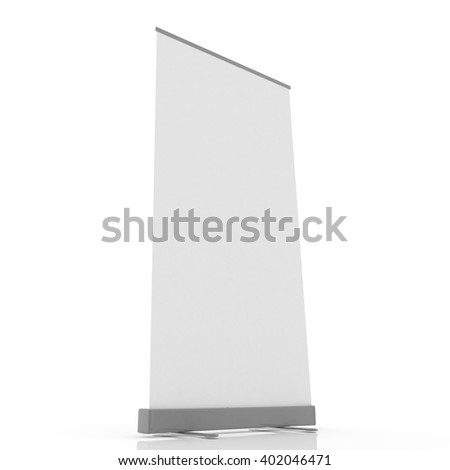 Roll up banner onto event or exhibit, 3D rendering