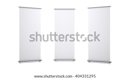 Roll up banners with paper canvas texture isolated on white background. 3D rendering - stock photo