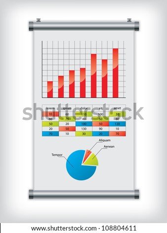 Roll up display with charts and diagrams - stock photo