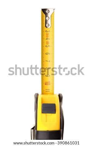 Roll-up metal tape measure on white background - stock photo