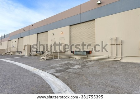 roll up steel garage doors - stock photo