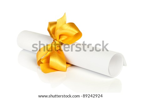 roll white paper with gold tape - stock photo