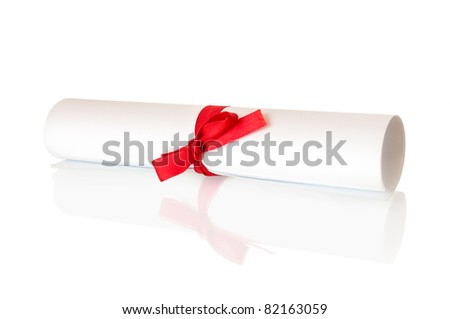 roll white paper with red ribbon and bow - stock photo