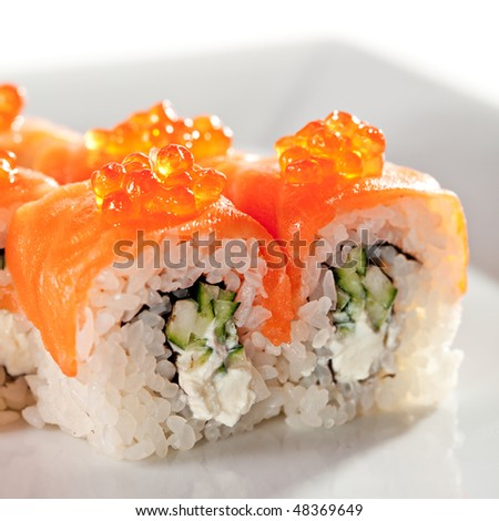 ... and Cucumber inside. Smoked Salmon and Ikura (Salmon Caviar) outside