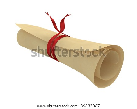 roll with red ribbon - stock photo