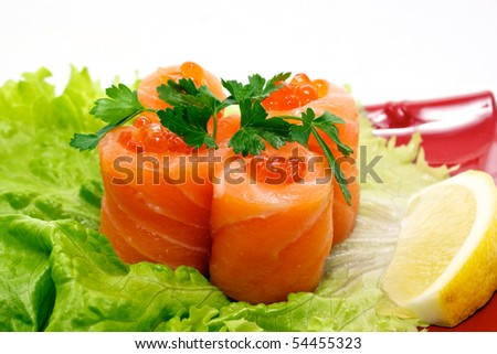 roll with salmon and red caviar - tradition japan