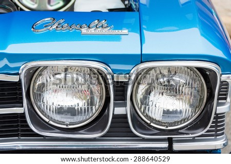 ROLLA, MISSOURI JUNE 6, 2015  Rolla Summerfest Car Show - Chevelle was manufactured by Chevrolet from 1964 through 1977.  Headlights and tail lights were one of the ways to distinguish the model year. - stock photo