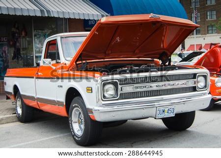 ROLLA, MISSOURI JUNE 6, 2015  Rolla Summerfest Car Show Rolla Summerfest Car Show - Chevrolet truck - stock photo
