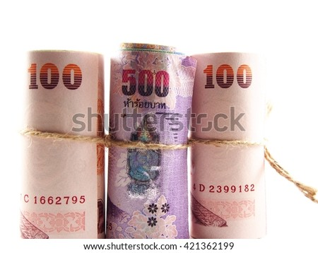 Rolled banknotes rope by brown string, thai baht money, finance plan concept