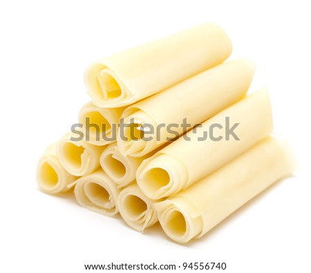 rolled cheese pyramid isolated on white background