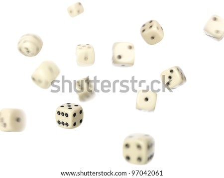 Rolled dices on white background - stock photo