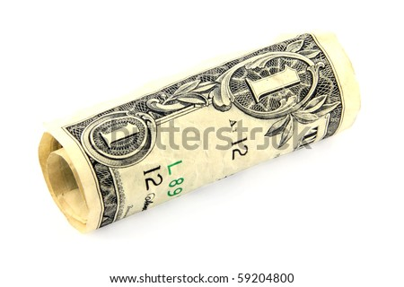 Rolled dollar bill on white; including clipping path