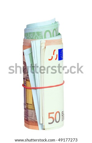 Rolled euro notes with a rubber ring - stock photo