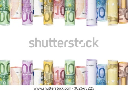 Rolled european banknotes isolated on a white background with a space for text - stock photo