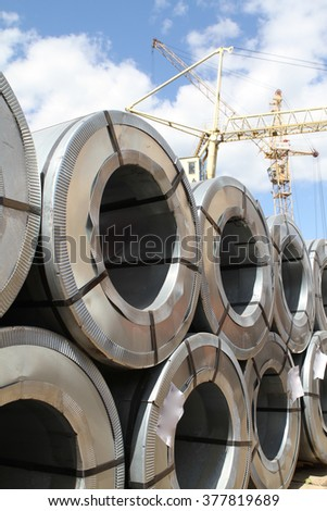 Rolled galvanized steel with polymer coating on the metal rolling stock