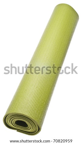 Rolled Green Yoga Mat Isolated on White with a Clipping Path. - stock photo