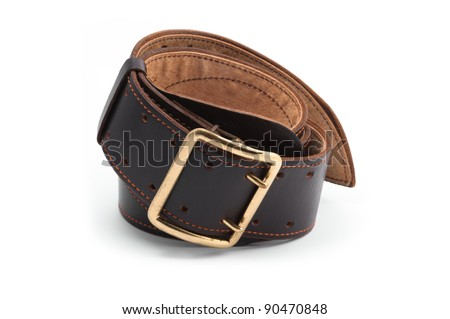 rolled leather belt isolated on the white background
