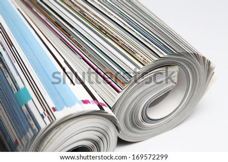 Rolled Magazines - stock photo