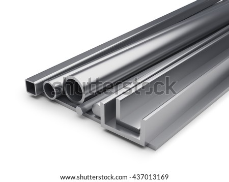 Rolled metal industrial background with copy space. 3D rendering of metal plate, shaped tube, L-bar, hexagon bar, metal channel isolated on white background. - stock photo