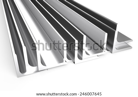 rolled metal L-bar, angle isolated on white background