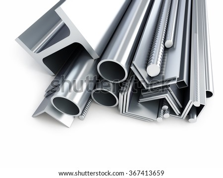 rolled metal products, metal pipes, angles, channels, squares. 3d Illustrations on a white background - stock photo