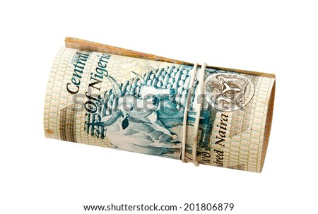 Rolled naira banknotes with a rubber ring, isolated - stock photo