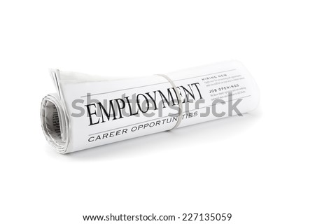 Rolled Newspaper isolated on white for employment - stock photo