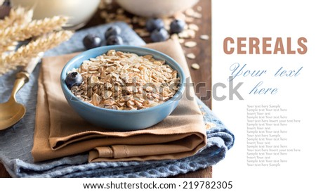 Rolled oats in a blue bowl with blueberries and milk - stock photo