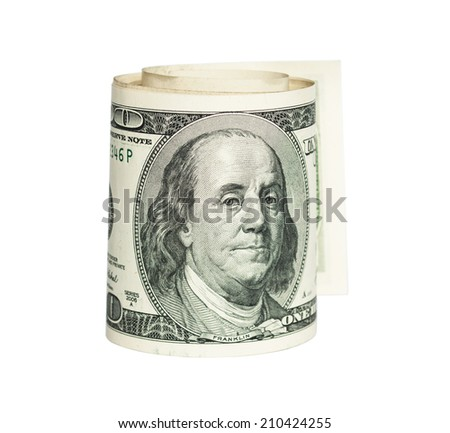 rolled one dollar bill - stock photo
