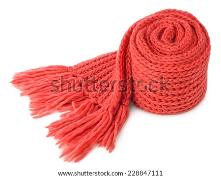 Rolled red textile scarf isolated on white background - stock photo