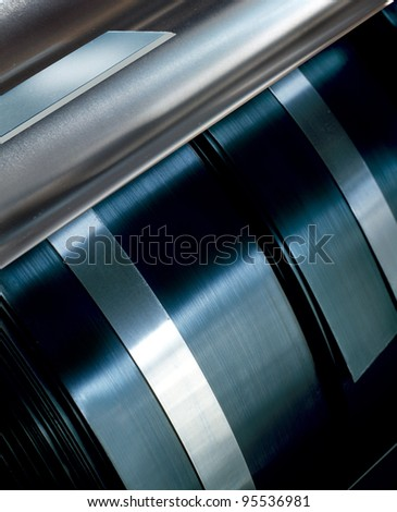 Rolled steel plates detail. - stock photo