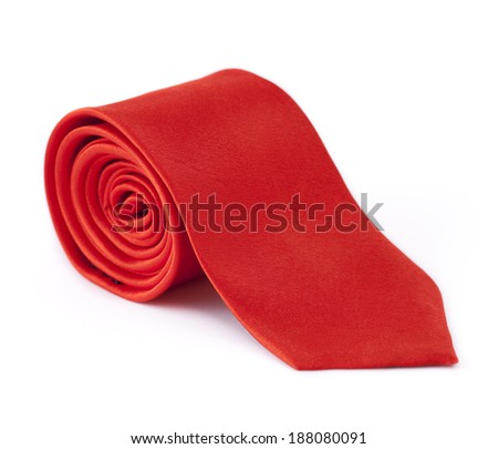 rolled tie isolated on white background