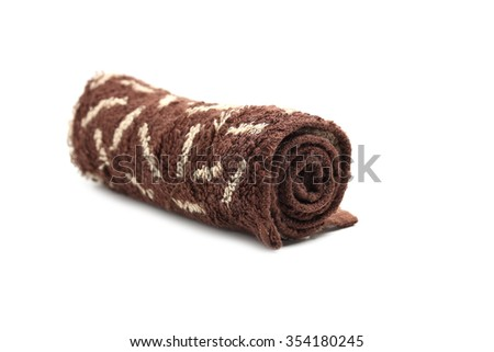 rolled towel isolated on white - stock photo