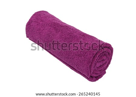 Rolled towel isolated on white background - stock photo