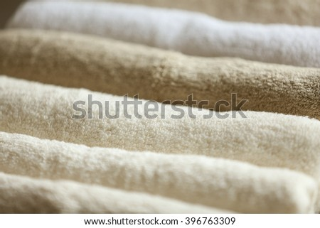 Rolled towels, closeup - stock photo