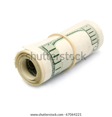 Rolled up dollar bills. Isolated on white background. - stock photo