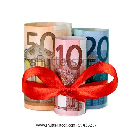 Rolled up eighty euro with red ribbon - stock photo