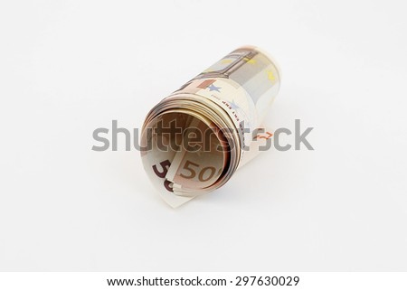 Rolled Up Euro Banknote - stock photo