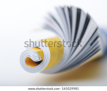 Rolled up magazine against a white background - stock photo
