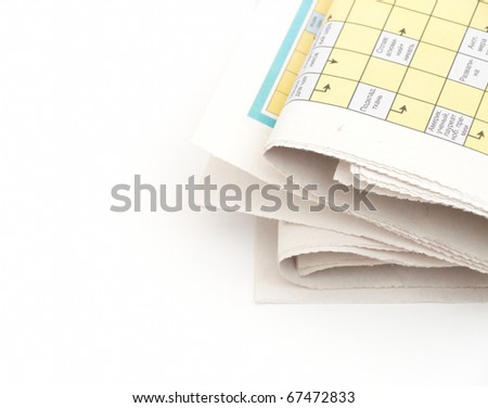rolled up newspaper isolated on white background - stock photo