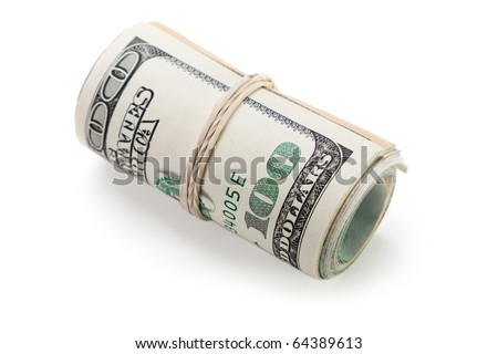 Rolled up paper dollar currency finance savings