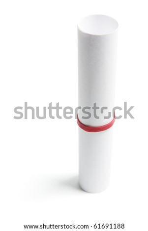 Rolled Up Paper on Isolated White Background - stock photo