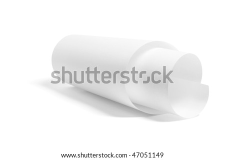 Rolled Up Paper on White Background - stock photo