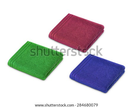 rolled up towels - stock photo
